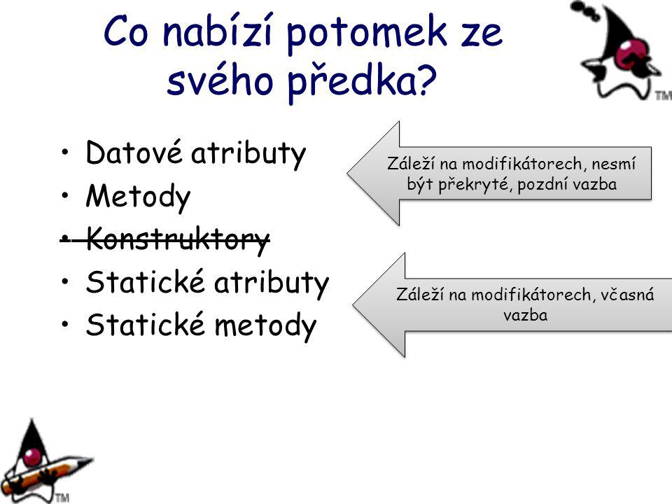 Co nabízí potomek ze svého předka? Datové atributy Metody Konstruktory Statické atributy Statické metody Záleží na modifikátorech, nesmí být překryté,
