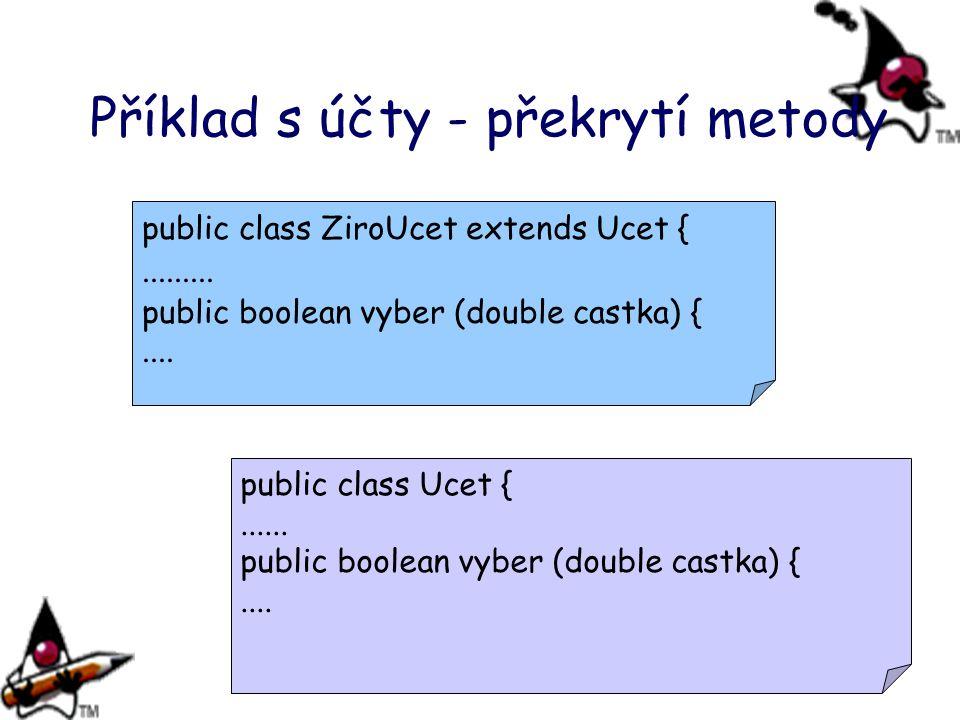 Příklad s účty - překrytí metody public class ZiroUcet extends Ucet {......... public boolean vyber (double castka) {.... public class Ucet {...... pu