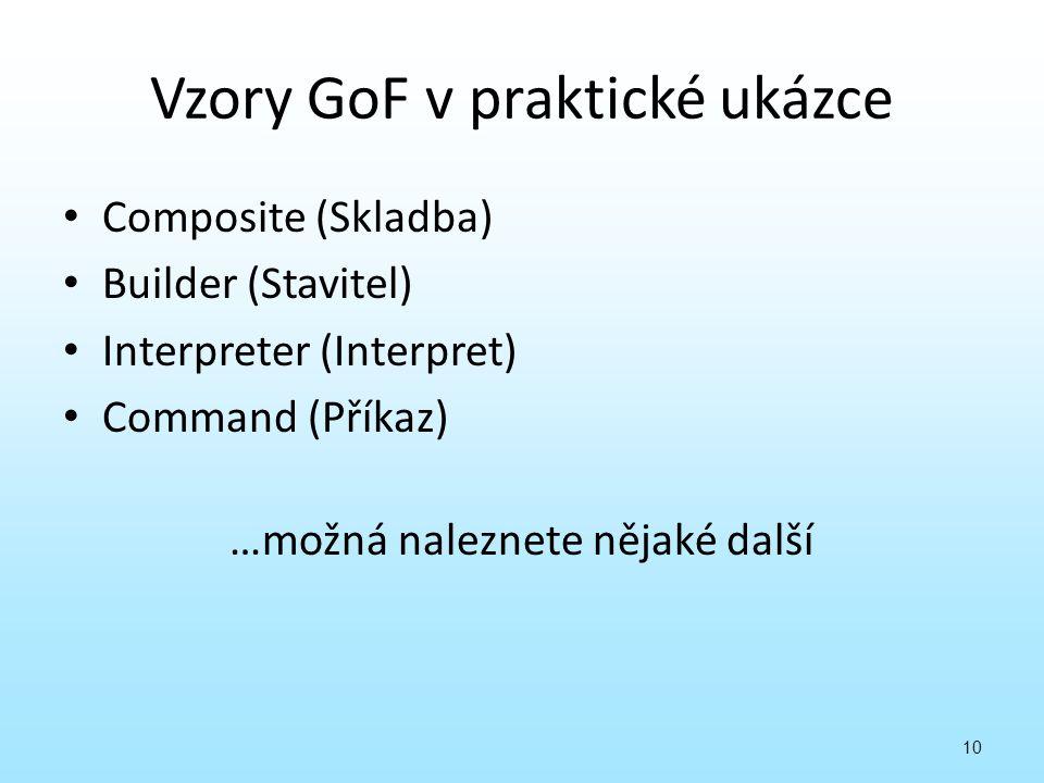 Vzory GoF v praktické ukázce Composite (Skladba) Builder (Stavitel) Interpreter (Interpret) Command (Příkaz) …možná naleznete nějaké další 10