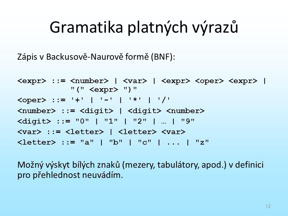 Gramatika platných výrazů Zápis v Backusově-Naurově formě (BNF): ::= | | |