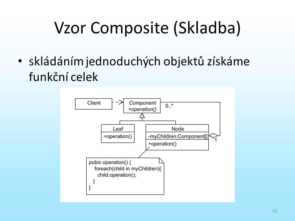 Vzor Composite (Skladba) skládáním jednoduchých objektů získáme funkční celek 16