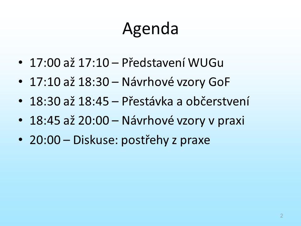 Agenda 17:00 až 17:10 – Představení WUGu 17:10 až 18:30 – Návrhové vzory GoF 18:30 až 18:45 – Přestávka a občerstvení 18:45 až 20:00 – Návrhové vzory
