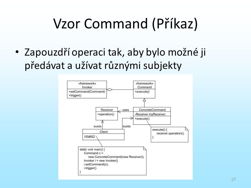 Vzor Command (Příkaz) Zapouzdří operaci tak, aby bylo možné ji předávat a užívat různými subjekty 27