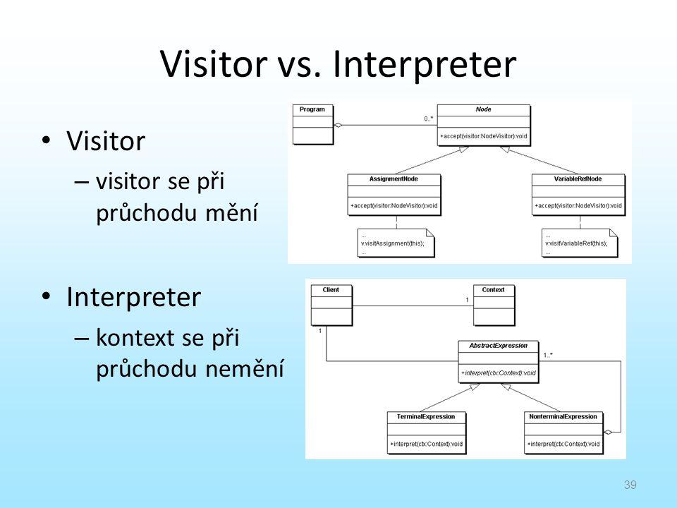 Visitor vs. Interpreter Visitor – visitor se při průchodu mění Interpreter – kontext se při průchodu nemění 39