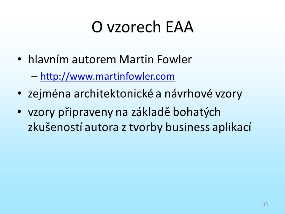O vzorech EAA hlavním autorem Martin Fowler – http://www.martinfowler.com http://www.martinfowler.com zejména architektonické a návrhové vzory vzory p