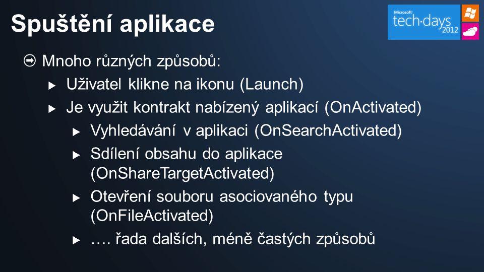 Mnoho různých způsobů:  Uživatel klikne na ikonu (Launch)  Je využit kontrakt nabízený aplikací (OnActivated)  Vyhledávání v aplikaci (OnSearchActivated)  Sdílení obsahu do aplikace (OnShareTargetActivated)  Otevření souboru asociovaného typu (OnFileActivated)  ….