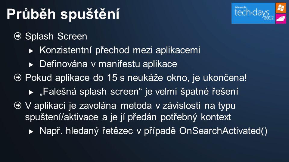 Splash Screen  Konzistentní přechod mezi aplikacemi  Definována v manifestu aplikace Pokud aplikace do 15 s neukáže okno, je ukončena.