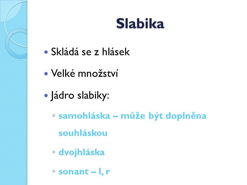 Slabika Skládá se z hlásek Velké množství Jádro slabiky: ◦ samohláska – může být doplněna souhláskou ◦ dvojhláska ◦ sonant – l, r