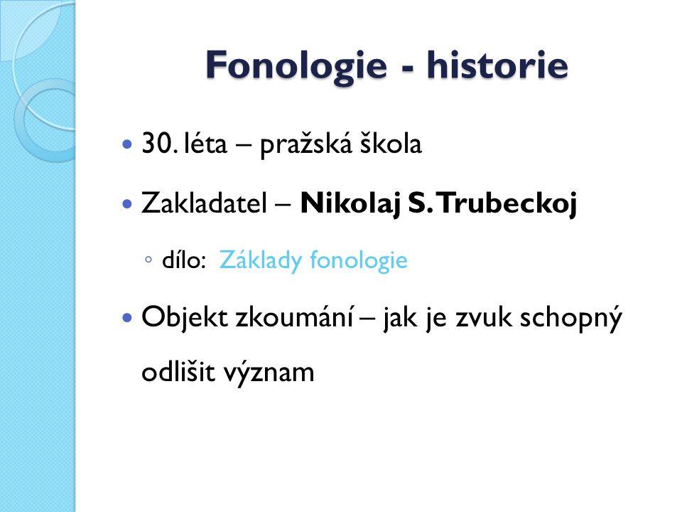 Fonologie - historie 30.léta – pražská škola Zakladatel – Nikolaj S.