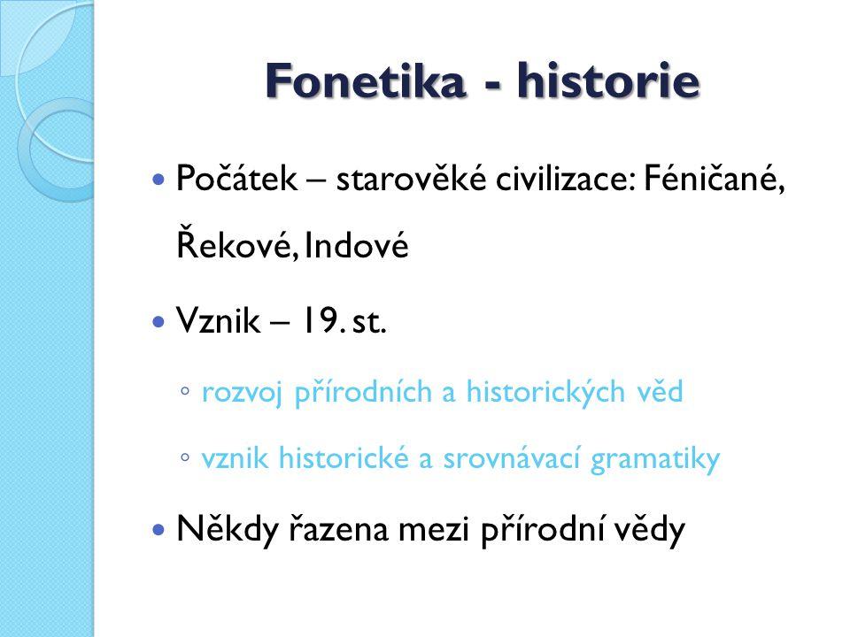 Fonetika - historie Počátek – starověké civilizace: Féničané, Řekové, Indové Vznik – 19.