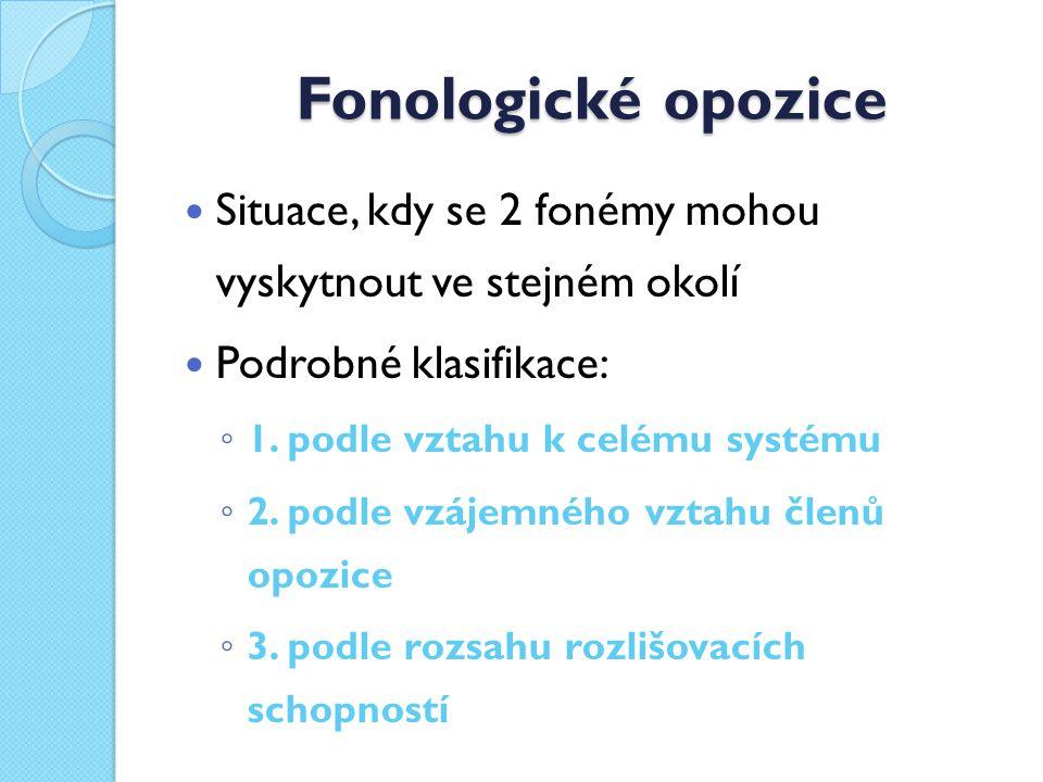 Fonologické opozice Situace, kdy se 2 fonémy mohou vyskytnout ve stejném okolí Podrobné klasifikace: ◦ 1.