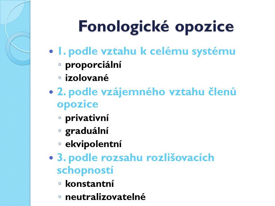 Fonologické opozice 1.podle vztahu k celému systému ◦ proporciální ◦ izolované 2.