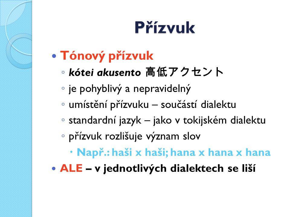 Přízvuk Tónový přízvuk ◦ kótei akusento 高低アクセント ◦ je pohyblivý a nepravidelný ◦ umístění přízvuku – součástí dialektu ◦ standardní jazyk – jako v tokijském dialektu ◦ přízvuk rozlišuje význam slov  Např.: haši x haši; hana x hana x hana ALE – v jednotlivých dialektech se liší