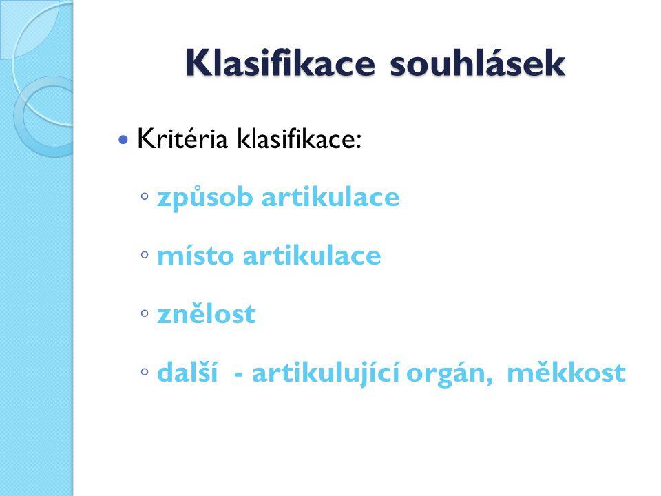 Klasifikace souhlásek Kritéria klasifikace: ◦ způsob artikulace ◦ místo artikulace ◦ znělost ◦ další - artikulující orgán, měkkost