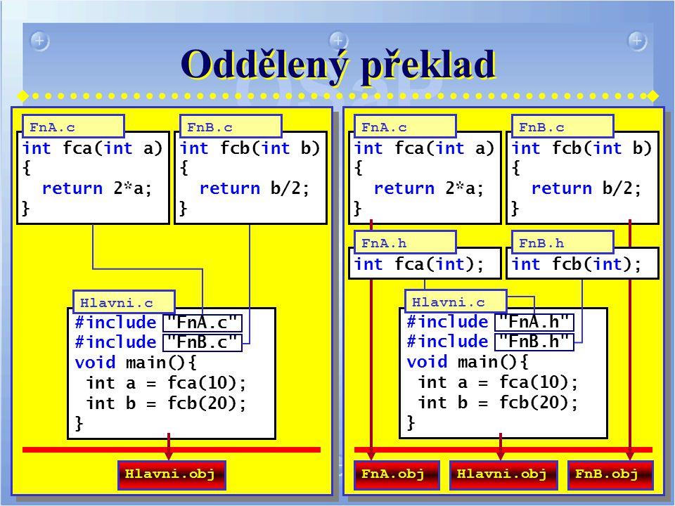 Oddělený překlad int fca(int a) { return 2*a; } #include FnA.c #include FnB.c void main(){ int a = fca(10); int b = fcb(20); } Hlavni.c FnA.c int fcb(int b) { return b/2; } FnB.c Hlavni.obj int fca(int a) { return 2*a; } #include FnA.h #include FnB.h void main(){ int a = fca(10); int b = fcb(20); } FnA.c int fcb(int b) { return b/2; } FnB.c Hlavni.objFnA.objFnB.obj int fca(int); FnA.h int fcb(int); FnB.h Hlavni.c