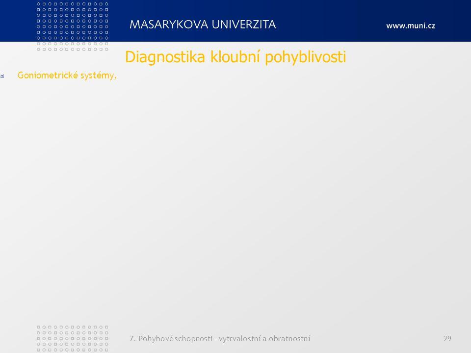 7. Pohybové schopnosti - vytrvalostní a obratnostní29 Goniometrické systémy, Diagnostika kloubní pohyblivosti