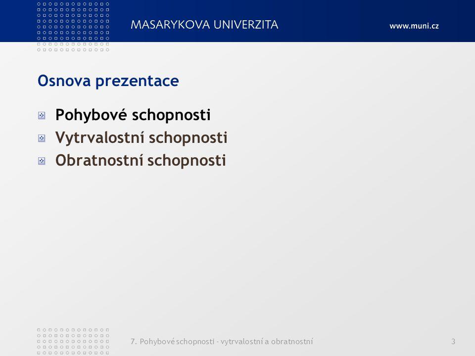 7. Pohybové schopnosti - vytrvalostní a obratnostní3 Osnova prezentace Pohybové schopnosti Vytrvalostní schopnosti Obratnostní schopnosti
