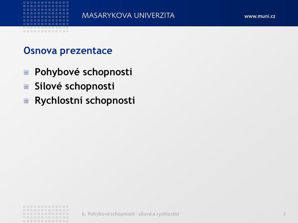 6. Pohybové schopnosti - silové a rychlostní3 Osnova prezentace Pohybové schopnosti Silové schopnosti Rychlostní schopnosti