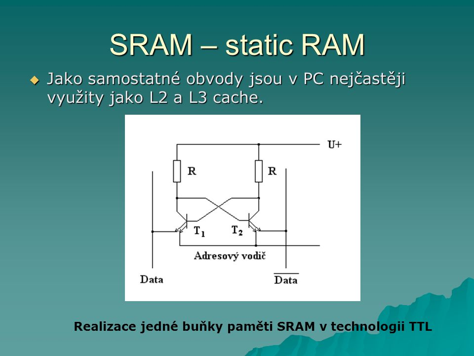 SRAM – static RAM Realizace jedné buňky paměti SRAM v technologii TTL  Jako samostatné obvody jsou v PC nejčastěji využity jako L2 a L3 cache.