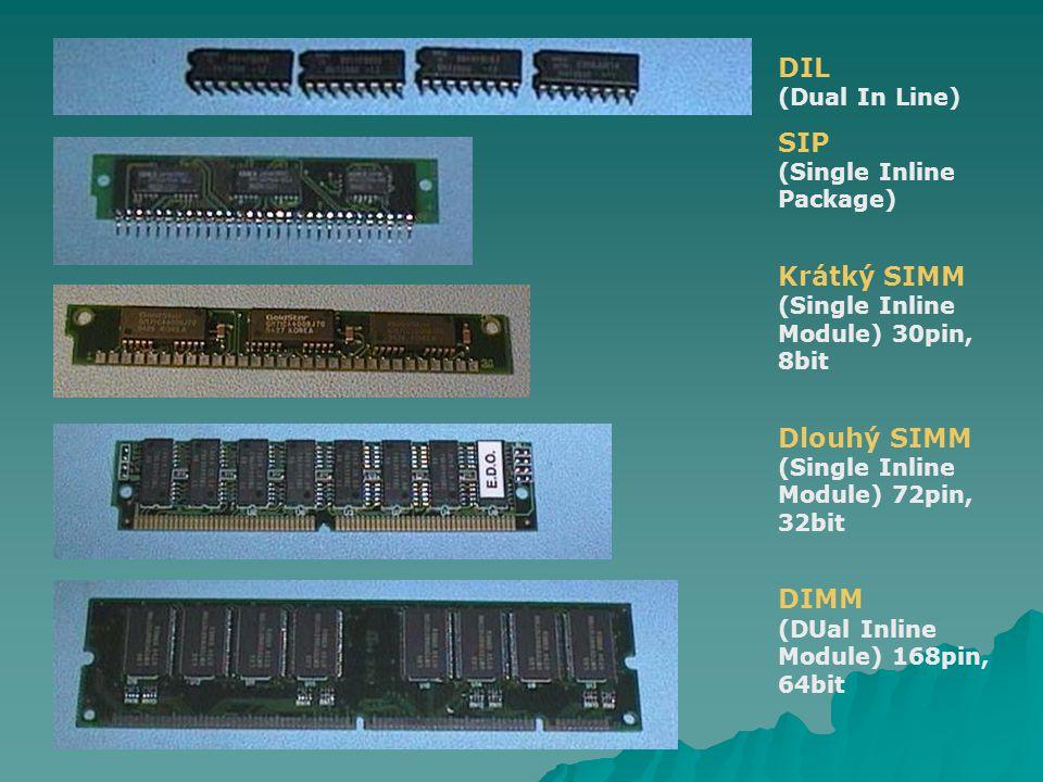 DIL (Dual In Line) SIP (Single Inline Package) Krátký SIMM (Single Inline Module) 30pin, 8bit Dlouhý SIMM (Single Inline Module) 72pin, 32bit DIMM (DU