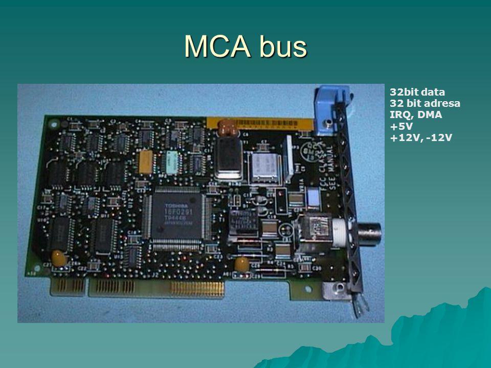 MCA bus 32bit data 32 bit adresa IRQ, DMA +5V +12V, -12V