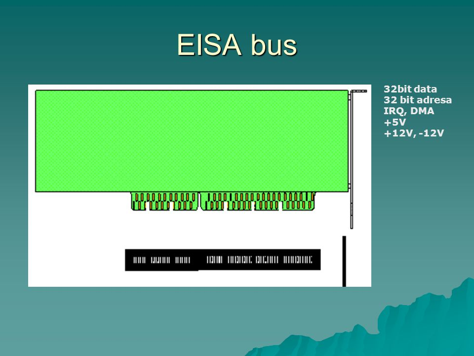 EISA bus 32bit data 32 bit adresa IRQ, DMA +5V +12V, -12V