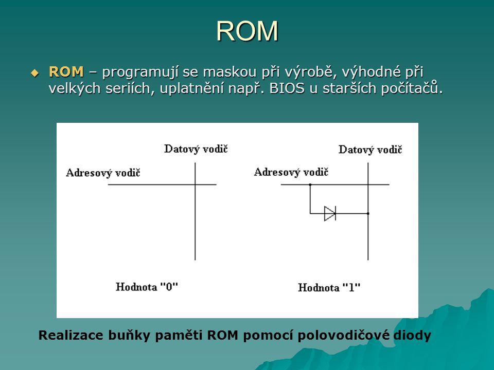 ROM  ROM – programují se maskou při výrobě, výhodné při velkých seriích, uplatnění např. BIOS u starších počítačů. Realizace buňky paměti ROM pomocí