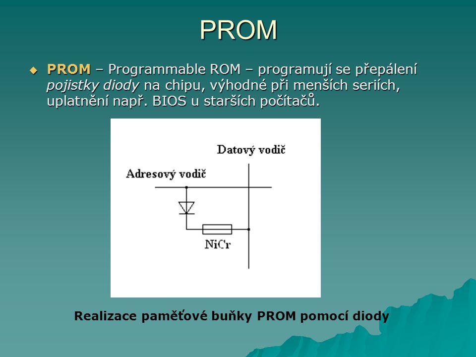 PROM  PROM – Programmable ROM – programují se přepálení pojistky diody na chipu, výhodné při menších seriích, uplatnění např. BIOS u starších počítač