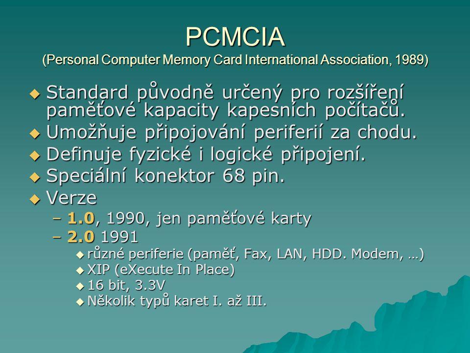 PCMCIA (Personal Computer Memory Card International Association, 1989)  Standard původně určený pro rozšíření paměťové kapacity kapesních počítačů. 