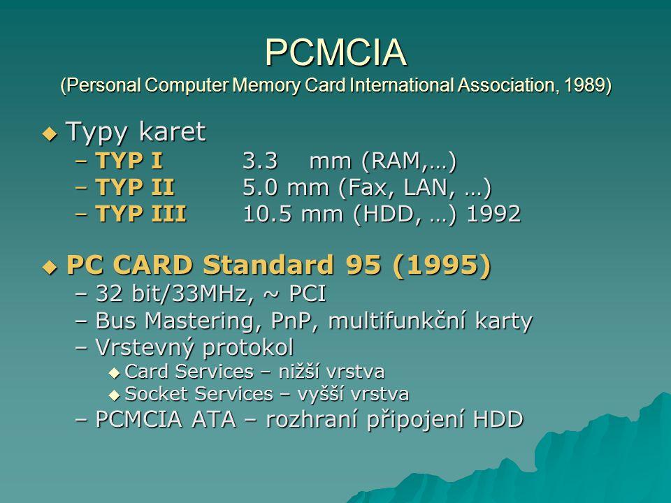 PCMCIA (Personal Computer Memory Card International Association, 1989)  Typy karet –TYP I3.3mm (RAM,…) –TYP II5.0 mm (Fax, LAN, …) –TYP III10.5 mm (H