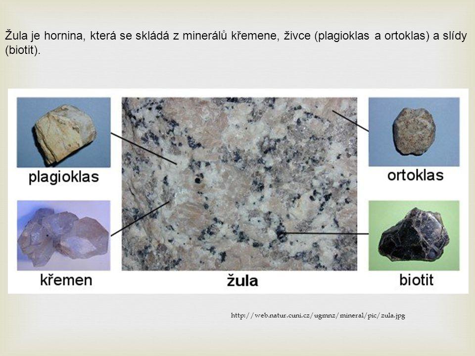 Žula je hornina, která se skládá z minerálů křemene, živce (plagioklas a ortoklas) a slídy (biotit). http://web.natur.cuni.cz/ugmnz/mineral/pic/zula.j