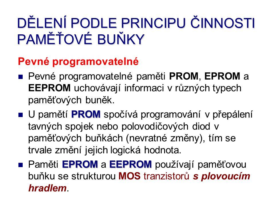 Pevné programovatelné Pevné programovatelné paměti PROM, EPROM a EEPROM uchovávají informaci v různých typech paměťových buněk.