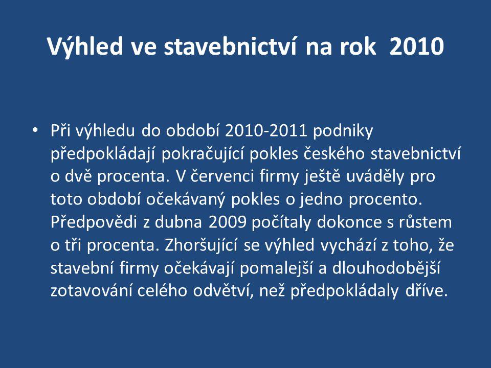 Výhled ve stavebnictví na rok 2010 Při výhledu do období 2010-2011 podniky předpokládají pokračující pokles českého stavebnictví o dvě procenta. V čer