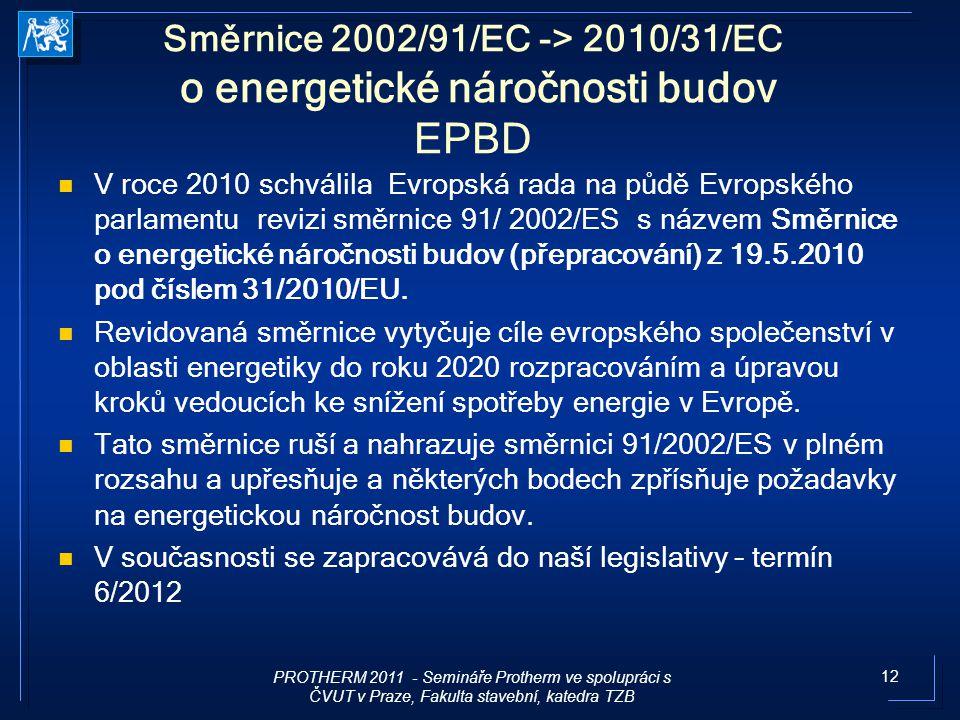 12 Směrnice 2002/91/EC -> 2010/31/EC o energetické náročnosti budov EPBD V roce 2010 schválila Evropská rada na půdě Evropského parlamentu revizi směr