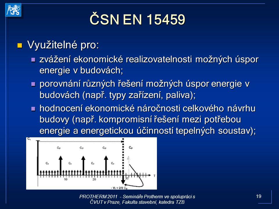 19 ČSN EN 15459 Využitelné pro: Využitelné pro: zvážení ekonomické realizovatelnosti možných úspor energie v budovách; zvážení ekonomické realizovatel