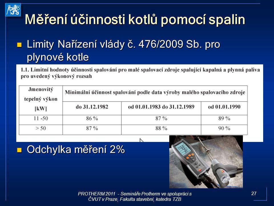 27 Měření účinnosti kotlů pomocí spalin Limity Nařízení vlády č. 476/2009 Sb. pro plynové kotle Limity Nařízení vlády č. 476/2009 Sb. pro plynové kotl
