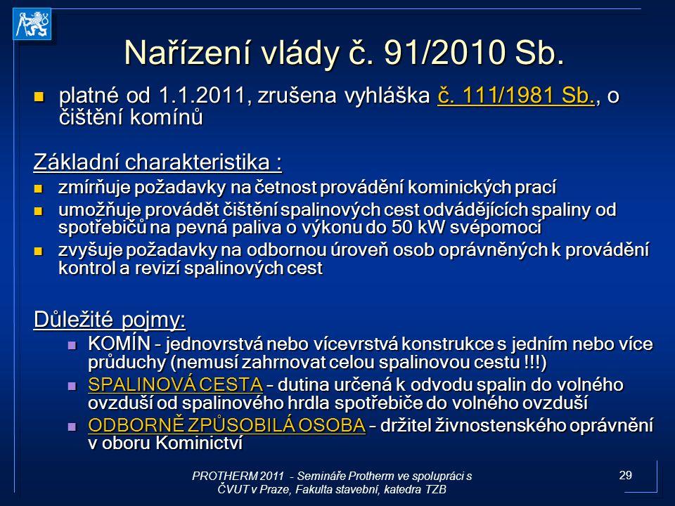 29 Nařízení vlády č. 91/2010 S b. platné od 1.1.2011, zrušena vyhláška č. 11 1/ 1981 Sb., o čištění komínů platné od 1.1.2011, zrušena vyhláška č. 11