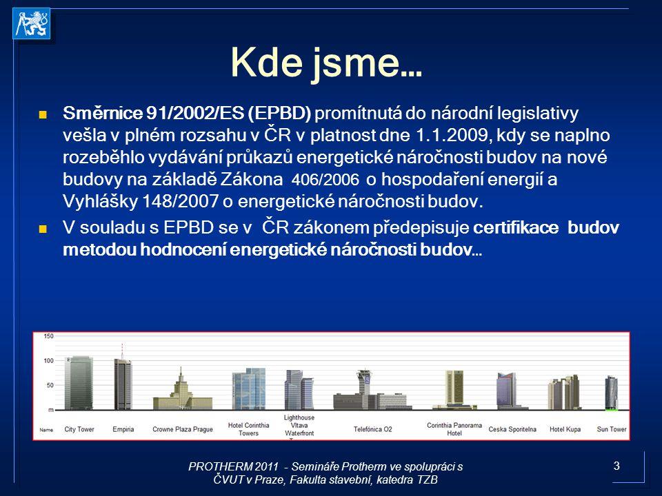 3 Kde jsme… Směrnice 91/2002/ES (EPBD) promítnutá do národní legislativy vešla v plném rozsahu v ČR v platnost dne 1.1.2009, kdy se naplno rozeběhlo v