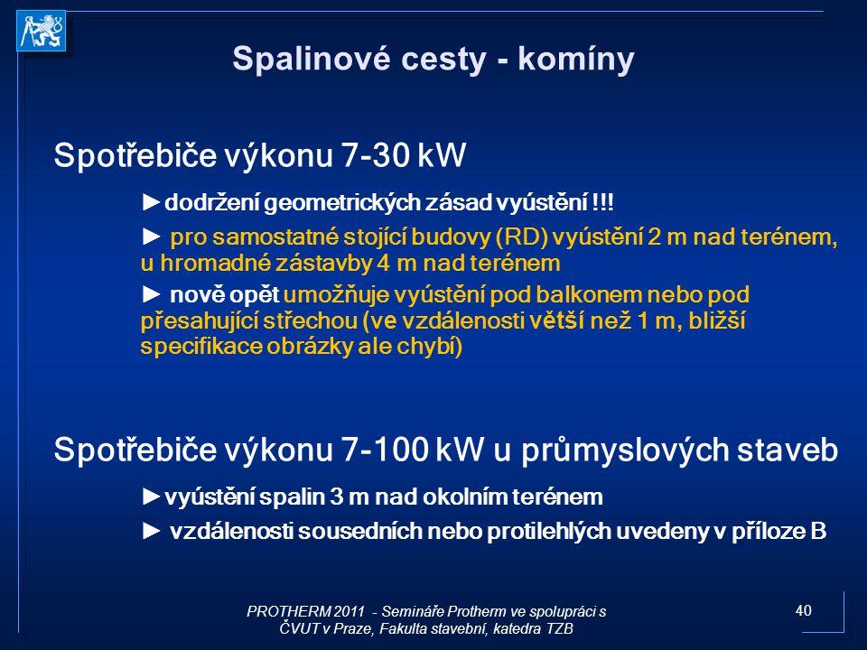 40 Spotřebiče výkonu 7-30 kW ► dodržení geometrických zásad vyústění !!! ► pro samostatné stojící budovy (RD) vyústění 2 m nad terénem, u hromadné zás