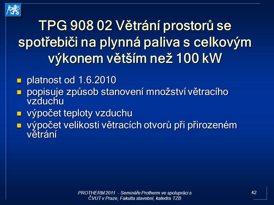 42 TPG 908 02 Větrání prostorů se spotřebiči na plynná paliva s celkovým výkonem větším než 100 kW platnost od 1.6.2010 platnost od 1.6.2010 popisuje