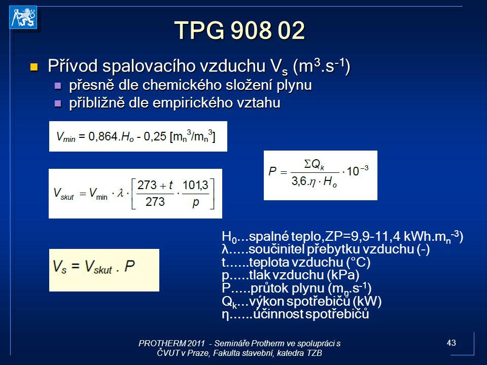 43 TPG 908 02 Přívod spalovacího vzduchu V s (m 3.s -1 ) Přívod spalovacího vzduchu V s (m 3.s -1 ) přesně dle chemického složení plynu přesně dle che