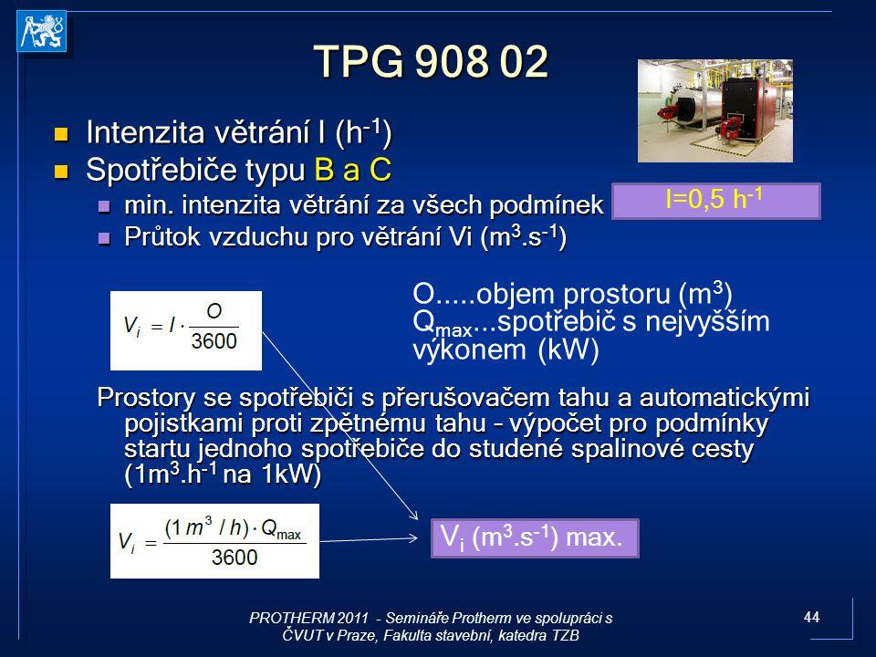 44 TPG 908 02 Intenzita větrání I (h -1 ) Intenzita větrání I (h -1 ) Spotřebiče typu B a C Spotřebiče typu B a C min. intenzita větrání za všech podm
