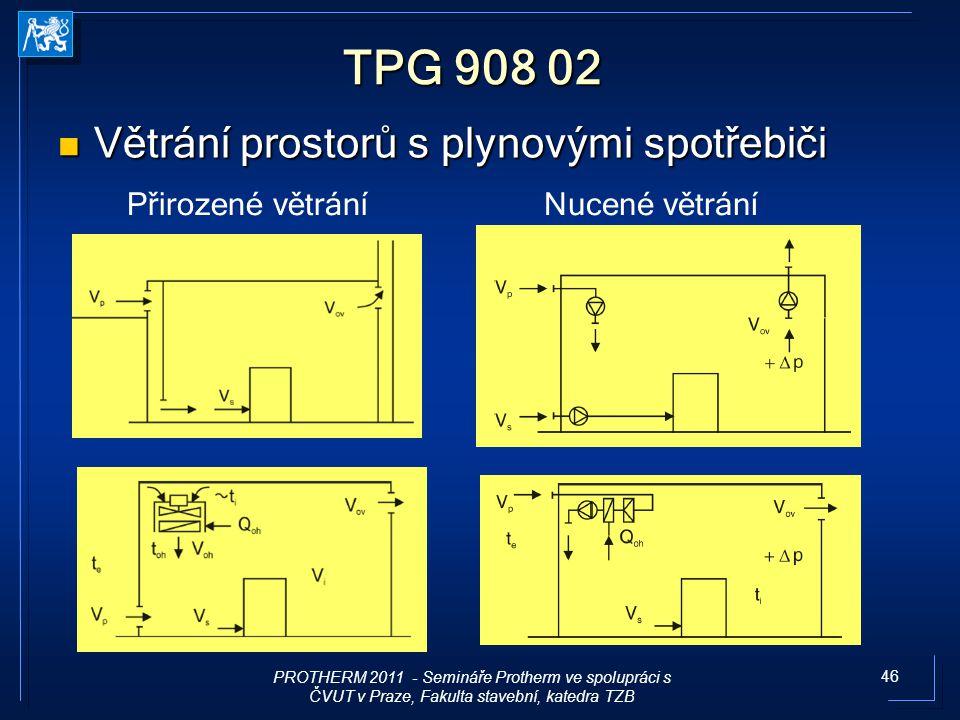 46 TPG 908 02 Větrání prostorů s plynovými spotřebiči Větrání prostorů s plynovými spotřebiči Přirozené větráníNucené větrání PROTHERM 2011 - Semináře