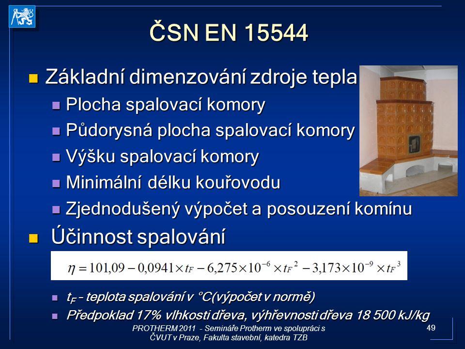 49 ČSN EN 15544 Základní dimenzování zdroje tepla Základní dimenzování zdroje tepla Plocha spalovací komory Plocha spalovací komory Půdorysná plocha s