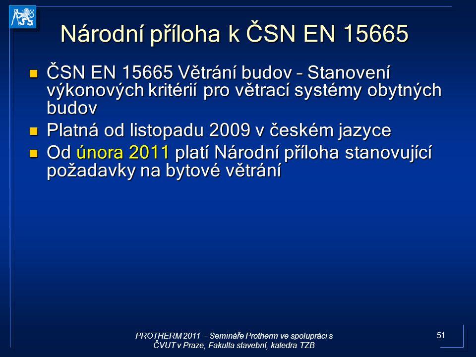 51 Národní příloha k ČSN EN 15665 ČSN EN 15665 Větrání budov – Stanovení výkonových kritérií pro větrací systémy obytných budov ČSN EN 15665 Větrání b