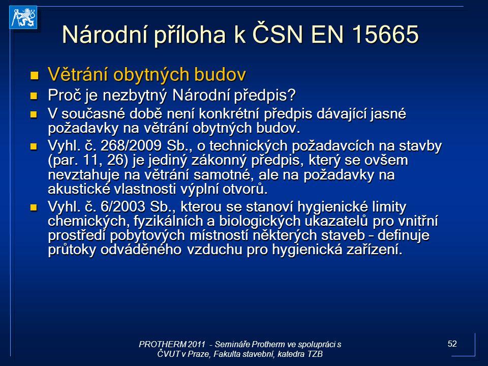 52 Národní příloha k ČSN EN 15665 Větrání obytných budov Větrání obytných budov Proč je nezbytný Národní předpis? Proč je nezbytný Národní předpis? V