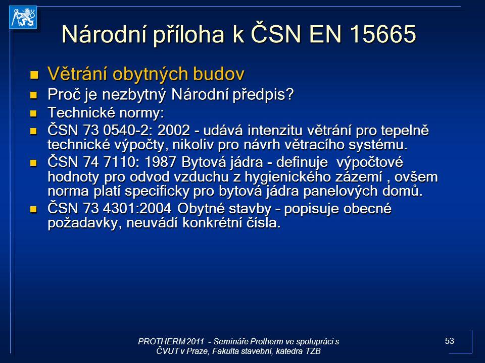 53 Národní příloha k ČSN EN 15665 Větrání obytných budov Větrání obytných budov Proč je nezbytný Národní předpis? Proč je nezbytný Národní předpis? Te