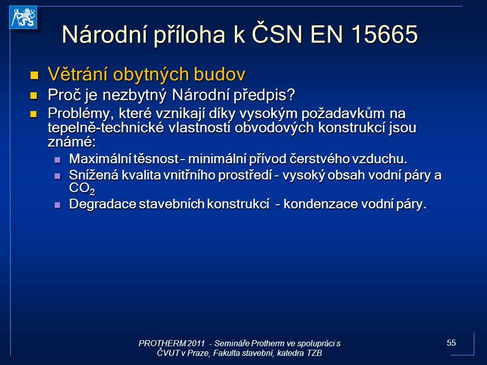 55 Národní příloha k ČSN EN 15665 Větrání obytných budov Větrání obytných budov Proč je nezbytný Národní předpis? Proč je nezbytný Národní předpis? Pr