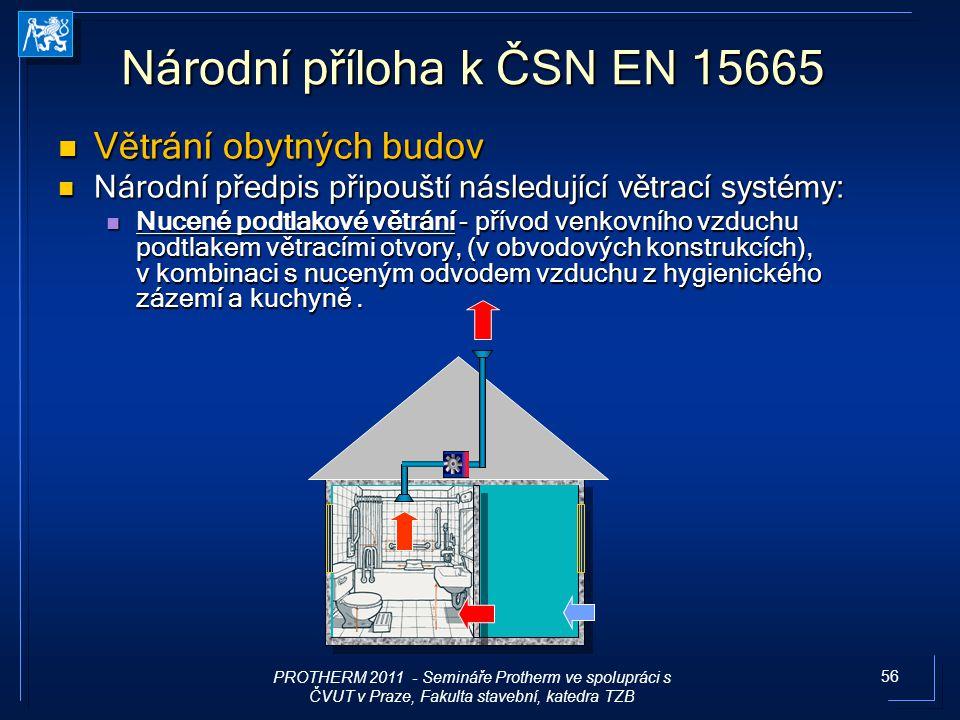56 Národní příloha k ČSN EN 15665 Větrání obytných budov Větrání obytných budov Národní předpis připouští následující větrací systémy: Národní předpis