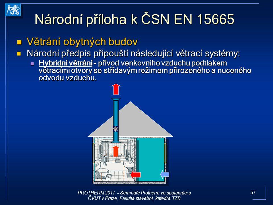 57 Národní příloha k ČSN EN 15665 Větrání obytných budov Větrání obytných budov Národní předpis připouští následující větrací systémy: Národní předpis
